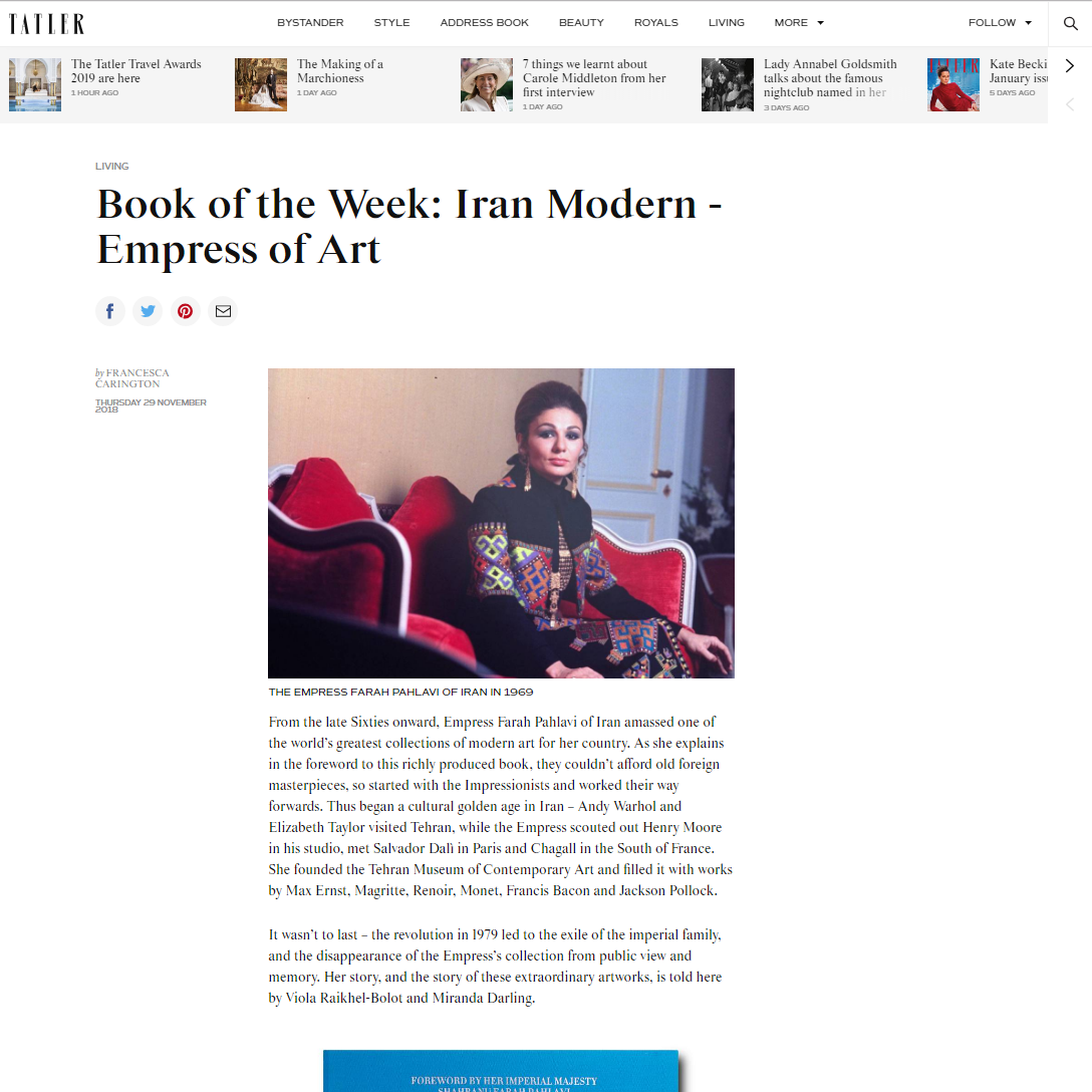 Book of the Week: Iran Modern – Empress of Art